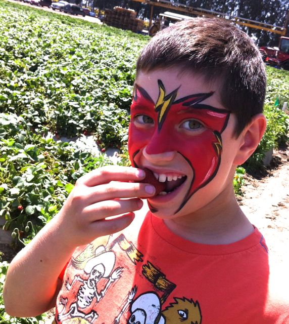 Strawberry Field Trip Boy Eats Berry
