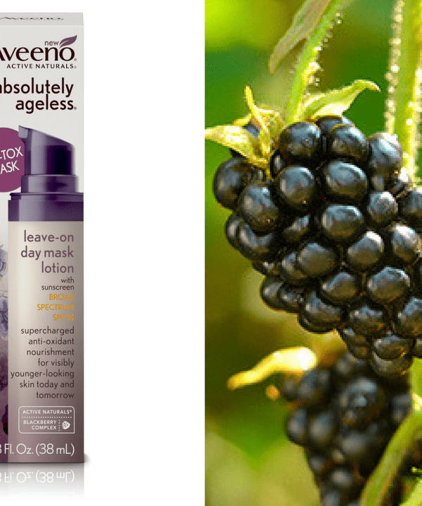 Aveeno's new Absolutely Ageless Leave-On Day Mask Lotion SPF 30 protects your skin from the sun and harnesses the power of blackberries to nourish your skin and defend it from environmental toxins.