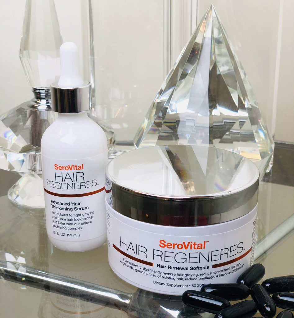 SeroVital Hair Regeneres is an innovative hair renewal system that reverses gray hair and helps you regrow younger, fuller more voluminous hair